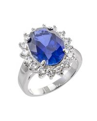 Kenneth Jay Lane | Blue Pave Border Oval Sapphire Ring | Lyst