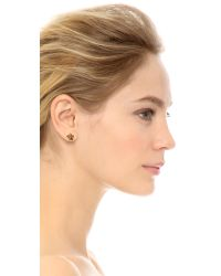 Tory Burch - Metallic Cecily Flower Stud Earrings Antiqued Gold - Lyst