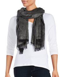 Lord & Taylor | Black Metallic Paisley-print Fringed Scarf | Lyst