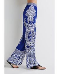 Forever 21 | Blue Ornate Paisley Palazzo Pants | Lyst