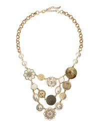 Lydell NYC | Metallic Pearly Crystal Floral Statement Necklace | Lyst