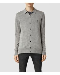 AllSaints | Gray Mode Merino Polo Cardigan for Men | Lyst