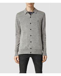 AllSaints - Gray Mode Merino Polo Cardigan for Men - Lyst