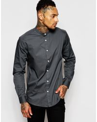 ASOS | Gray Shirt In Grey With Grandad Collar In Regular Fit for Men | Lyst