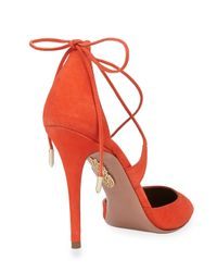Aquazzura - Red Matilde Crisscross Suede Pumps - Lyst