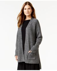 Eileen Fisher | Gray Open-front High-low Cardigan | Lyst