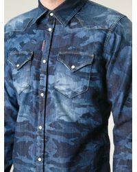 DSquared² | Blue Camouflage Denim Shirt for Men | Lyst