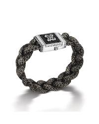 John Hardy | Black Large Rectangular Braided Chain Bracelet for Men | Lyst