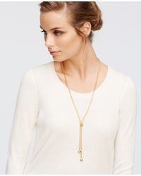 Ann Taylor - Metallic Pave Cabochon Lariat Necklace - Lyst