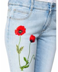 Stella McCartney - Blue Denim With Flower Embroideries - Lyst