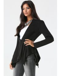 Bebe - Black Dramatic Peplum Jacket - Lyst