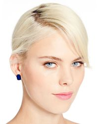 kate spade new york | Blue Emerald Cut Studs | Lyst