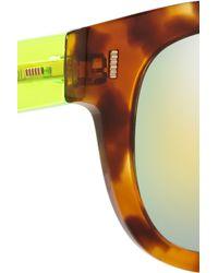 Fendi - Yellow D-Frame Acetate Mirrored Sunglasses - Lyst