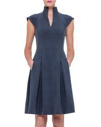 Akris - Blue Split-neck Silk Shantung Dress - Lyst