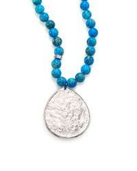 Nest | Blue Turquoise Jasper Beaded Teardrop Pendant Necklace | Lyst