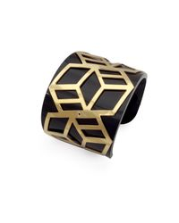 Anna Byers | Wide Perspex Cuff Black And Gold | Lyst