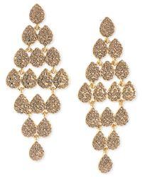 Carolee - Metallic Gold-Tone Pavé Crystal Kite Chandelier Earrings - Lyst