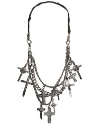 Emanuele Bicocchi - Metallic Silver Crosses & Leather Necklace - Lyst