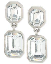Carolee - Metallic Silver-Tone Geometric Crystal Double Drop Earrings - Lyst