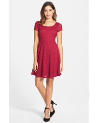 Soprano - Purple Lace Skater Dress - Lyst
