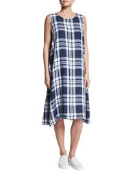 Eskandar - Blue Sleeveless Plaid Linen Dress - Lyst