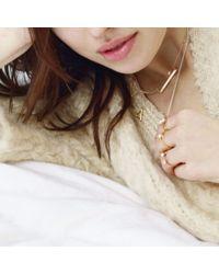Bing Bang - Pink Open Pearl Baguette Ring - Lyst