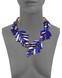 Oscar de la Renta | Blue Swarovski Crystal Leaf Necklace | Lyst