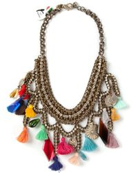 Sveva Collection | Metallic Embellished Chain Tassel Necklace | Lyst