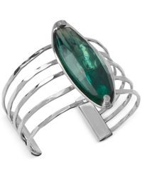 Robert Lee Morris - Metallic Silver-Tone Faceted Bead Multi-Row Cuff Bracelet - Lyst
