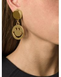 Moschino - Metallic Smiley Clip-on Earring - Lyst