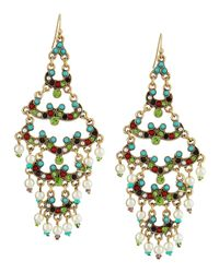 R.j. Graziano | Multicolor Layered Scallop Crystal Beaded Chandelier Earrings | Lyst