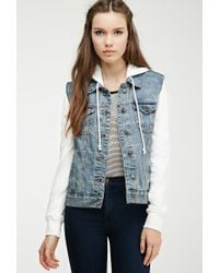 Forever 21 - Blue Hooded Denim Jacket - Lyst