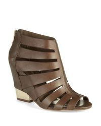 BCBGeneration | Brown Charlie Leather Wedge Sandals | Lyst