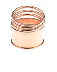 Aamaya By Priyanka - Pink Rose Gold-Plated Spring Multi Ring - Lyst