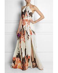 Roberto Cavalli - Orange Printed Silk-Chiffon Gown - Lyst