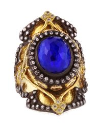 Armenta | Blue 18k Gold Midnight Heraldry Shield Ring With Lapis And Diamonds for Men | Lyst