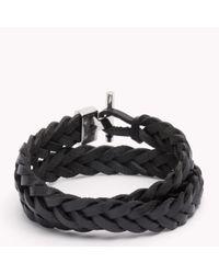Tommy Hilfiger - Black Tommy Leather Bracelet for Men - Lyst