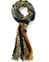 Etro - Black Geometric Patterned Scarf - Lyst