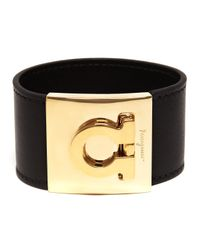 Ferragamo - Black Leather Gancini Cuff - Lyst