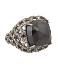 Bavna - Sterling Silver Signet Ring With Faceted Black Spinel & Pave Diamonds - Lyst
