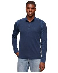 Calvin Klein Jeans - Blue Pigment-dyed Snap-neck Shirt for Men - Lyst