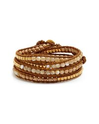 Chan Luu | Brown Beaded Leather Wrap Bracelet - Antique Mix/ Henna | Lyst