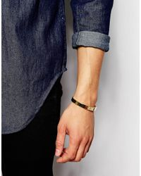 ASOS - Metallic Gold Plated Bangle With Real Diamond And Engraving for Men - Lyst