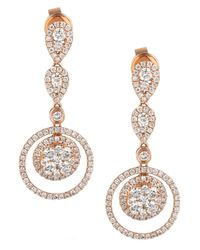 Le Vian | Pink Diamond Diamond Double-circle Drop Earrings (1-3/8 Ct. T.w.) In 14k Rose Gold | Lyst
