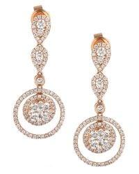 Le Vian   Pink Diamond Diamond Double-circle Drop Earrings (1-3/8 Ct. T.w.) In 14k Rose Gold   Lyst