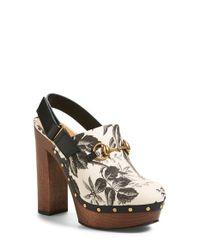 Gucci | Black Amstel Floral-Print Clogs | Lyst