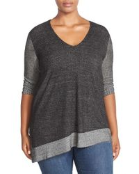 Two By Vince Camuto | Black Plaited Asymmetrical V-neck Pullover | Lyst