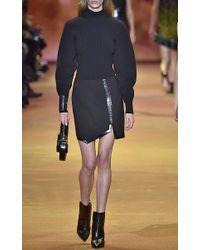Mugler - Black Embossed Wool Asymmetrical Mini Skirt - Lyst