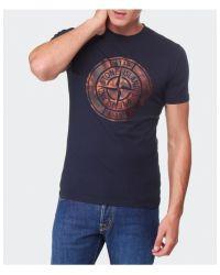 Stone Island - Blue Compass Logo Tshirt for Men - Lyst