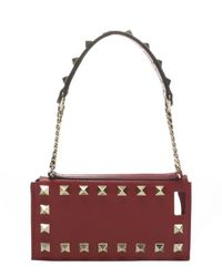 Valentino - Red Scarlet Leather 'Rockstud' Wristlet Iphone 5 Case - Lyst